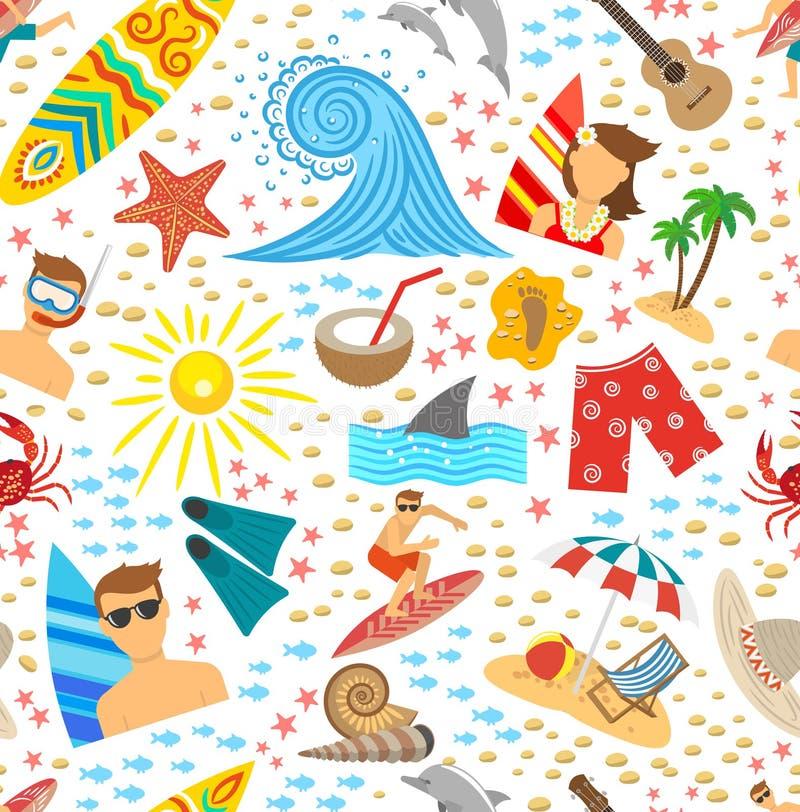 Surfować Bezszwowego wzór royalty ilustracja
