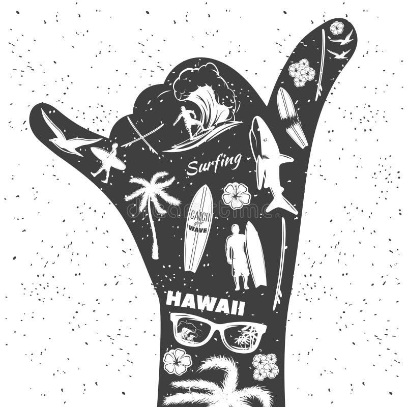 Surfować Czarną rękę ilustracja wektor