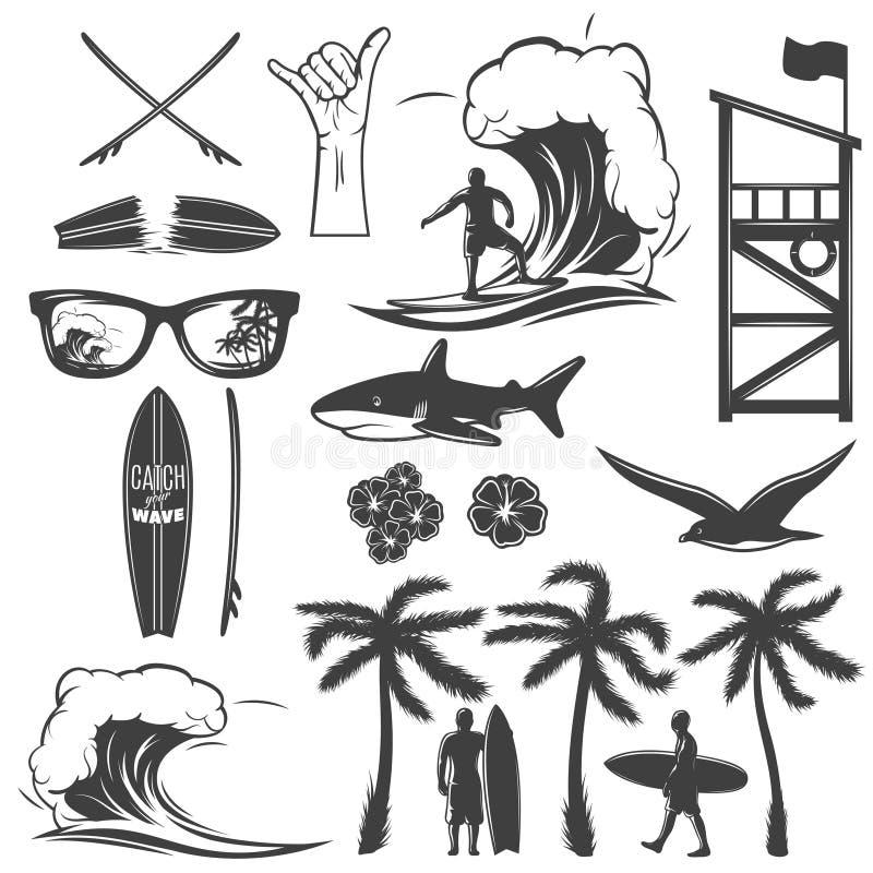 Surfować Czarnego ikona set ilustracji