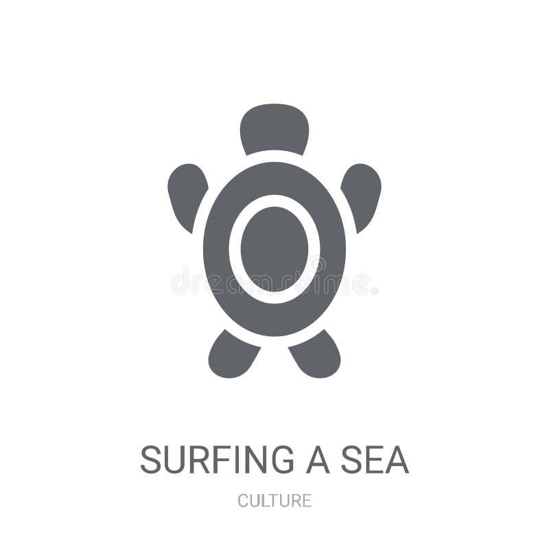Surfować dennego żółwia ikonę  royalty ilustracja