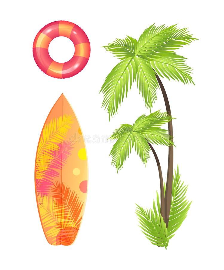 Surfować Deskowego lata ikony wektoru Ustaloną ilustrację royalty ilustracja