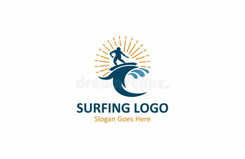 Surfować Falowego oceanu logo projekt ilustracji