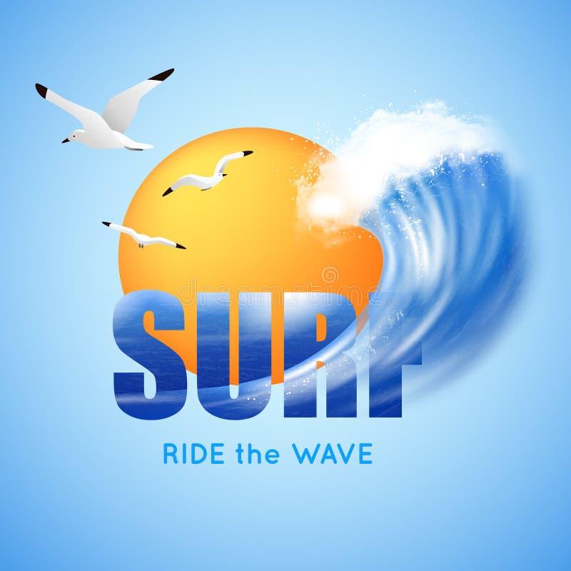 Surfować I Duży Falowy plakat ilustracja wektor