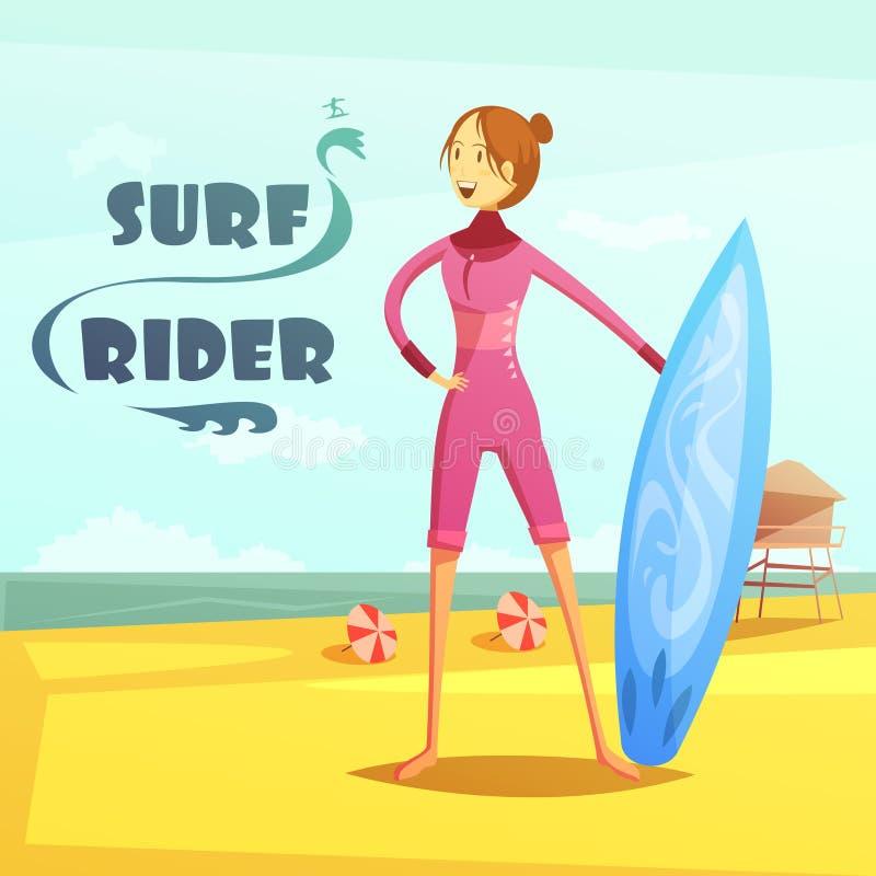 Surfować I kipieli jeźdza kreskówki Retro ilustracja ilustracji