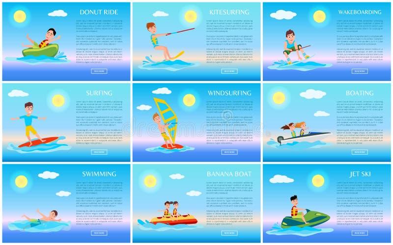 Surfować i przejażdżek karty Dżetowe narty, dopłynięcia i pączka, royalty ilustracja