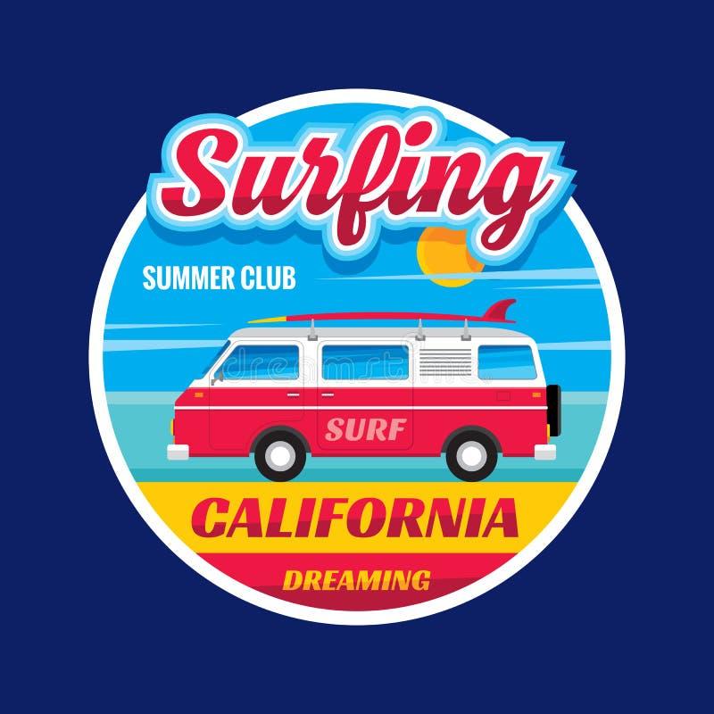 Surfować - Kalifornia marzy - wektorowego ilustracyjnego pojęcie w rocznik grafice ilustracja wektor