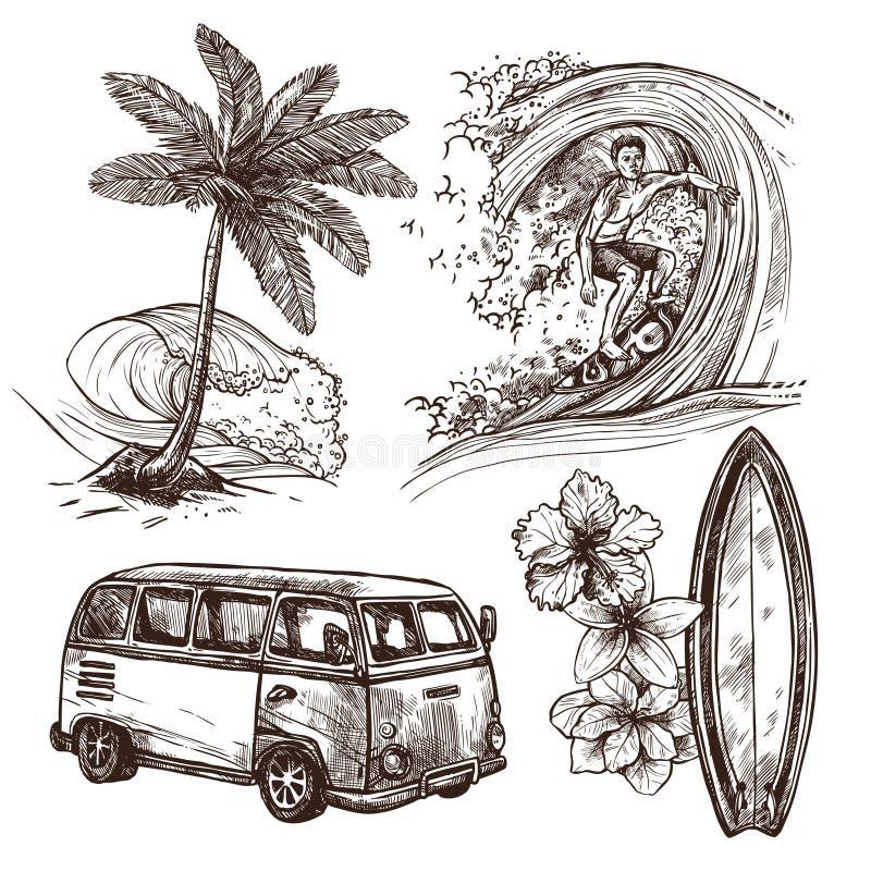 Surfować nakreślenie ikony set ilustracji