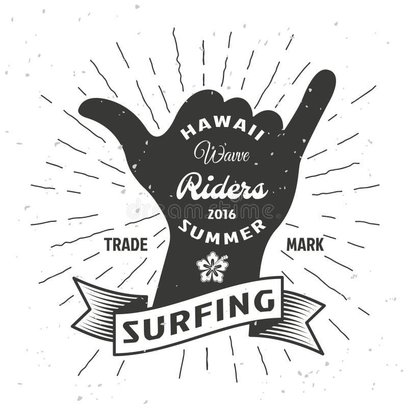 Surfować ręka plakat ilustracja wektor