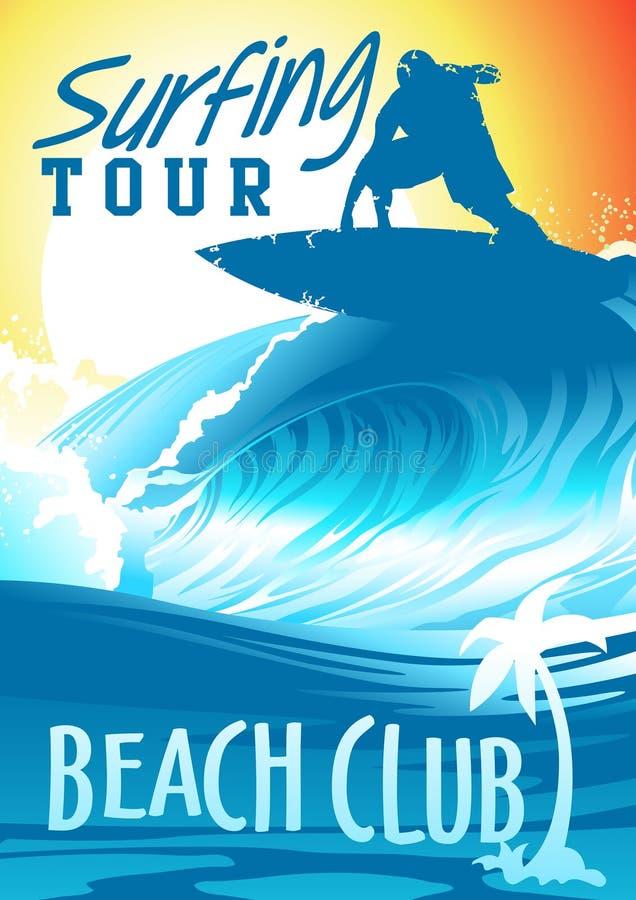 Surfować wycieczki turysycznej plaży klubu z surfingowem na fala ilustracja wektor