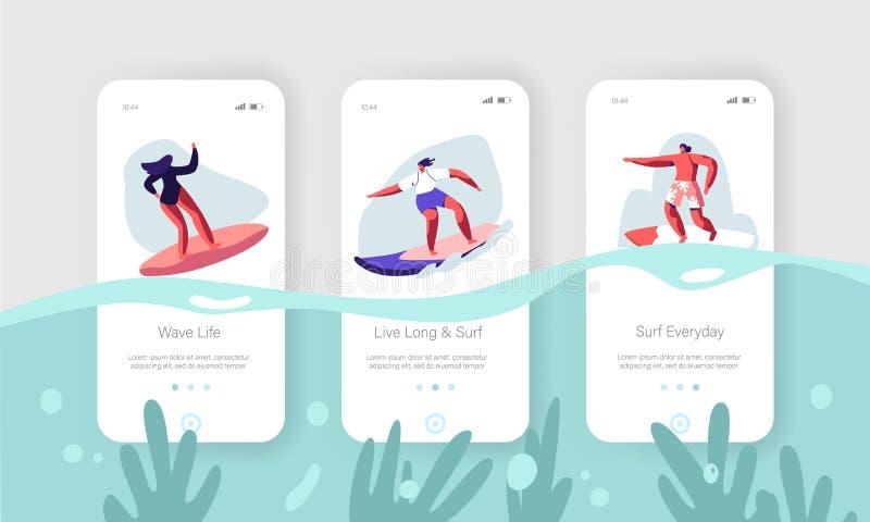 Surfowa? sport, odtwarzanie Mobilna App strona Na ekranu secie Młodzi surfingowowie Jedzie morze falę na kipieli desce Lato wakac royalty ilustracja