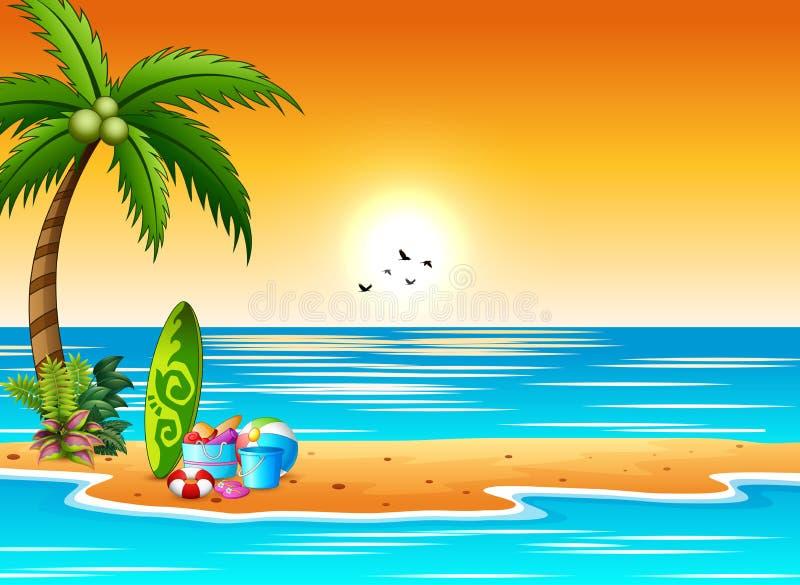 Surfplank en strandelementen op de kust bij zonsonderganglandschap royalty-vrije illustratie