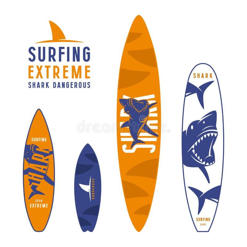 Surfplank grafisch ontwerp met het beeld van haaien vector illustratie