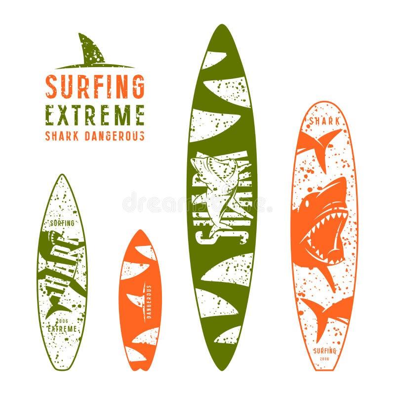 Surfplank grafisch ontwerp met het beeld van haaien stock illustratie