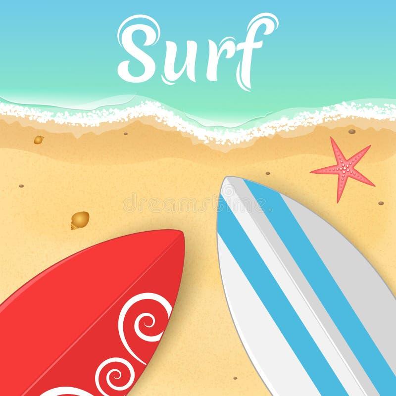 Surfplanken en een zeester op de oceaan het openen van de zomer Ontspan op het strand Vector illustratie vector illustratie