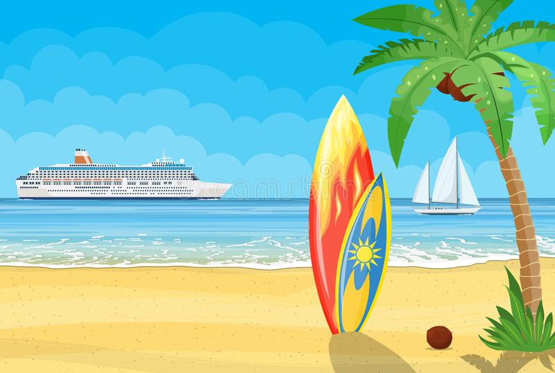 Surfplanken op een strand tegen een zonnig zeegezicht royalty-vrije illustratie