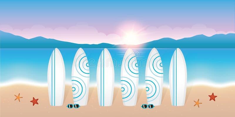 Surfplanken voor de brandingsles op mooi strand bij zonsopgang vector illustratie