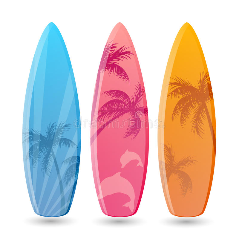 Surfplankontwerpen stock illustratie