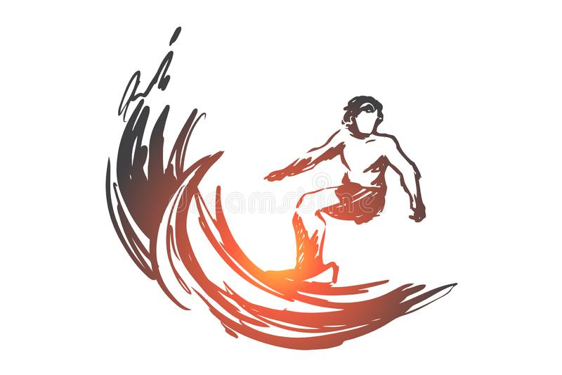 Surfujący, sport, fala, ocean, lata pojęcie Ręka rysujący odosobniony wektor ilustracja wektor