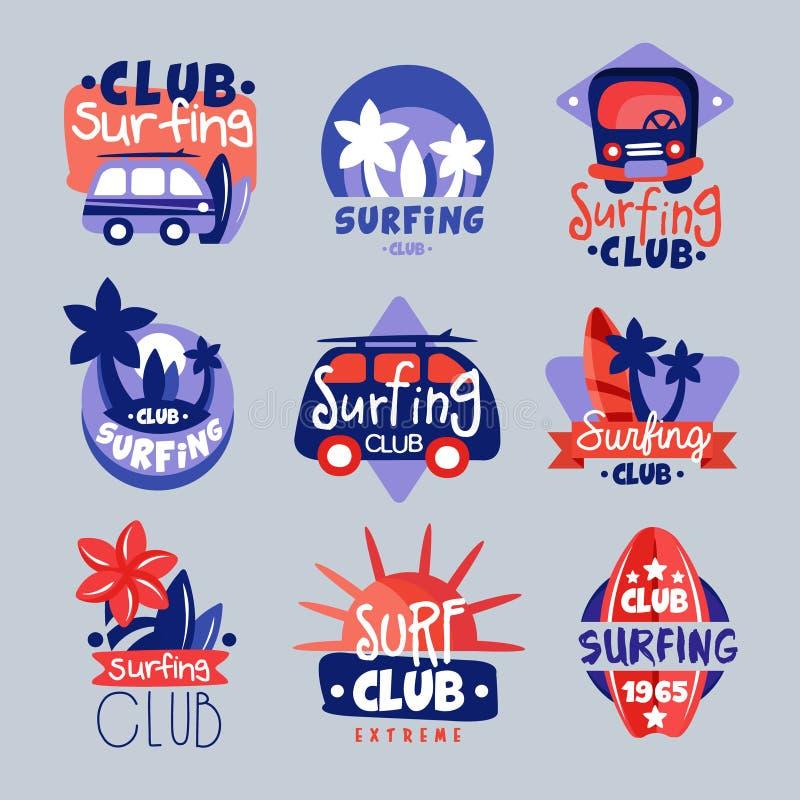 Surfuje świetlicowych logów szablony ustawiających, surfujący świetlicowego emblemat, windsurfing odznaki kolekcja ilustracja wektor