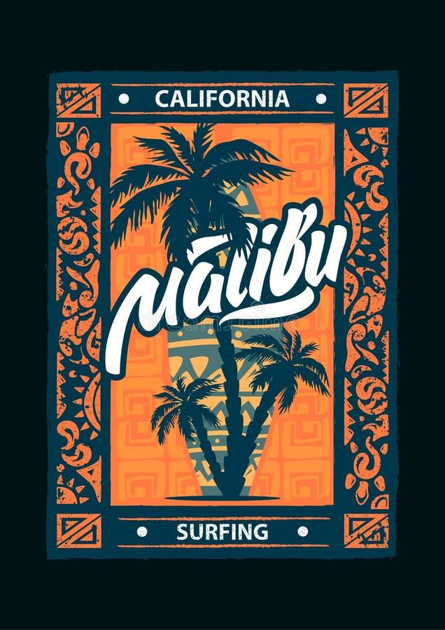 Surfuje sporta Malibu plakat z literowaniem i typografią Koszulka projekta grafika, wektory ilustracji