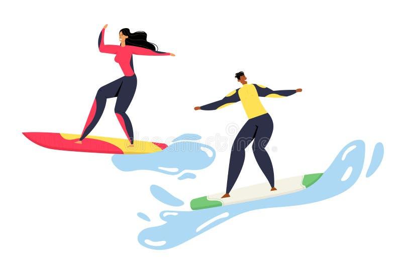 Surfwettbewerb, Mann und Frau in Swimwear Riding Surf Boards by Huge Ocean Waves Sportler in Bewegung vektor abbildung