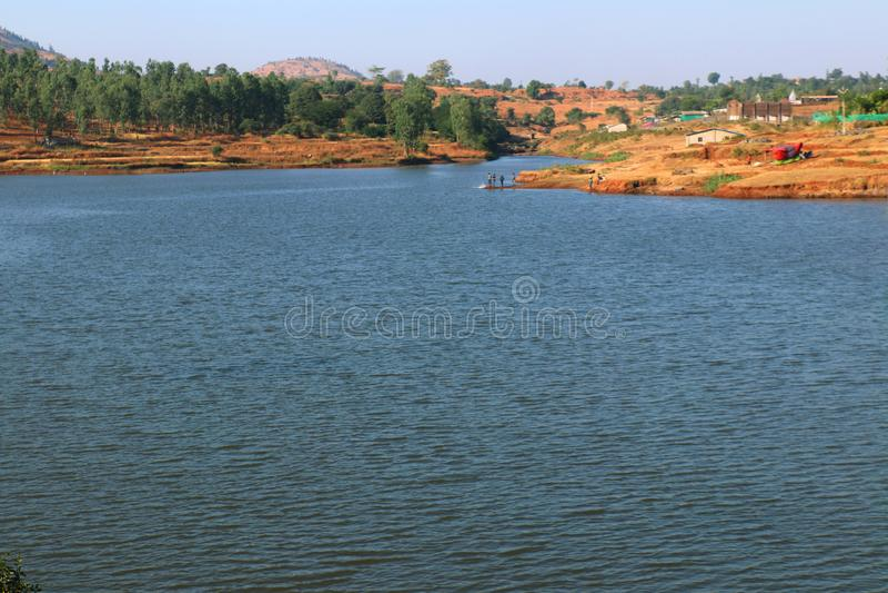 Surgana Lake in Dist. Nashik, Maharshtra, India.  stock photo