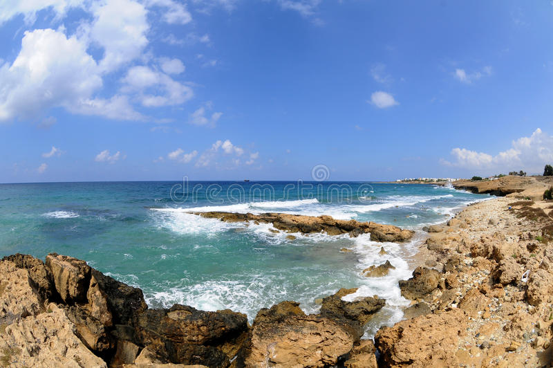 Surge in the Gulf. Cape Greco or Paphos - Cyprus stock photos