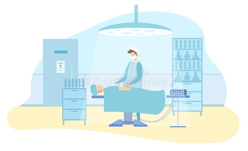 Surgeon Character Performs Laparoscopic Operation. Surgeon Doctor Character Performs Laparoscopic Operation on Male Patient. Man under Anesthesia. Modern Surgery vector illustration