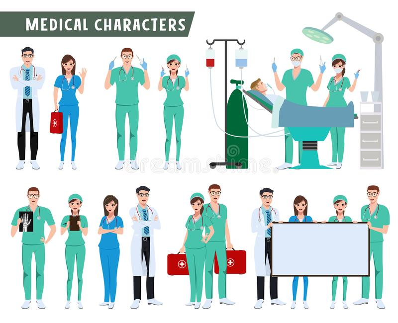 Surgeon, doctor and nurse characters vector set. Medical and health care team doing surgery stock illustration