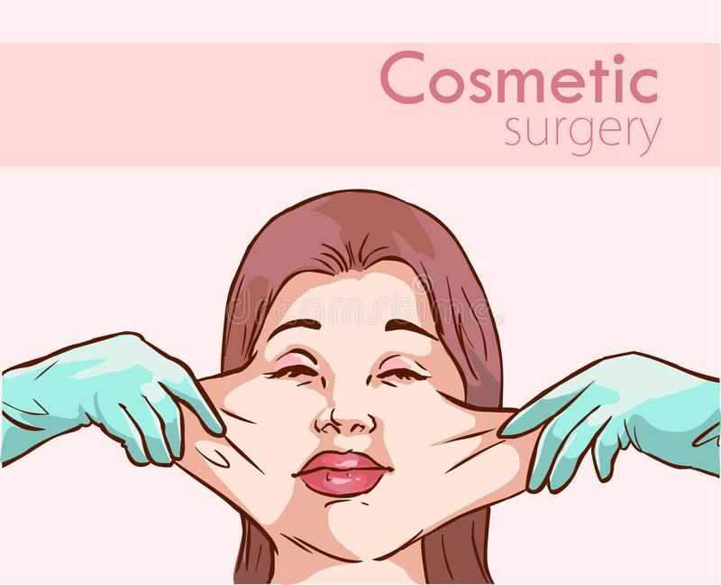 Surgeon hands with woman plastic surgery process vector illustration.  stock illustration