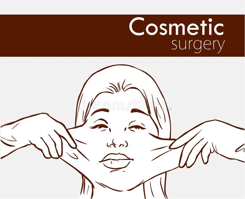 Surgeon hands with woman plastic surgery process vector illustration.  vector illustration