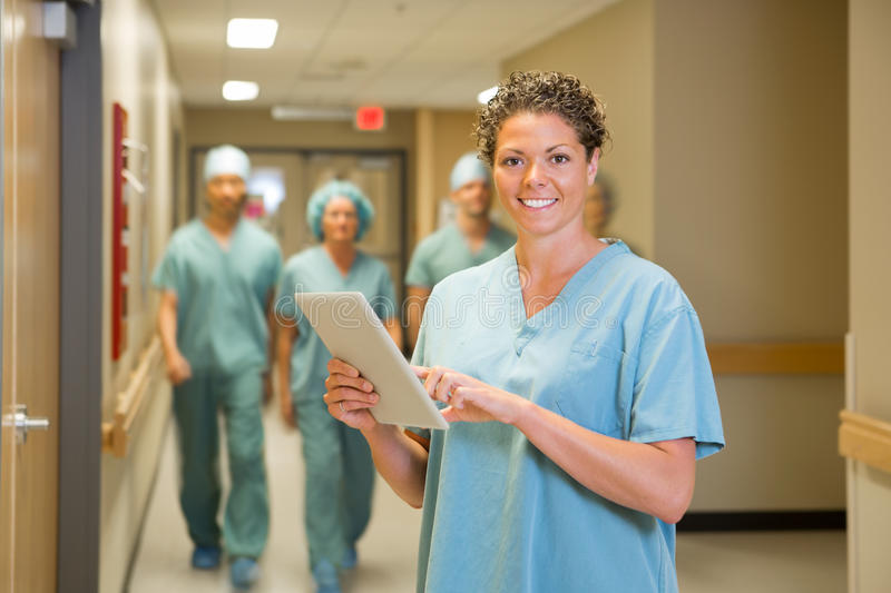 Surgeon Holding Digital Tablet In Hospital royalty free stock photo