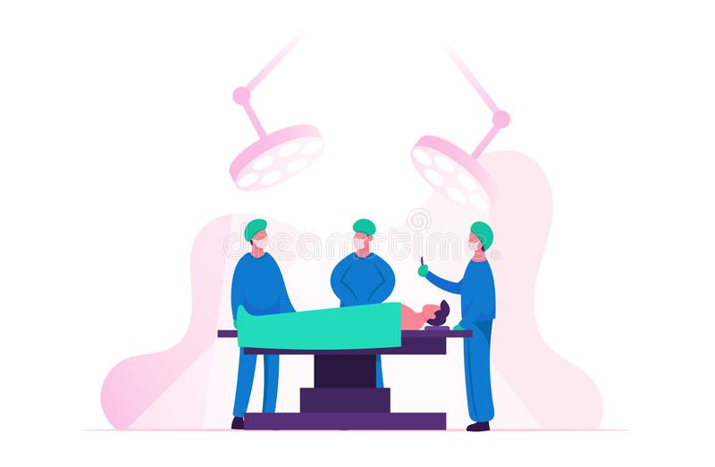 Surgeon Making Operation to Patient Lying on Bed at Surgery Room in Hospital or Clinic. Nurses Staff Help. Giving Medical Tools, Emergency Medical Treatment stock illustration
