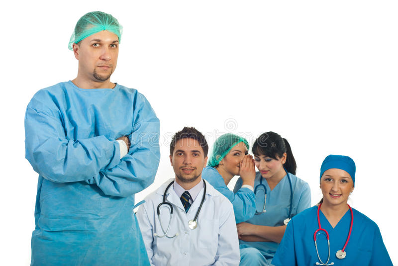 Download Surgeon Man And Gossip Colleagues Stock Image - Image: 18048743