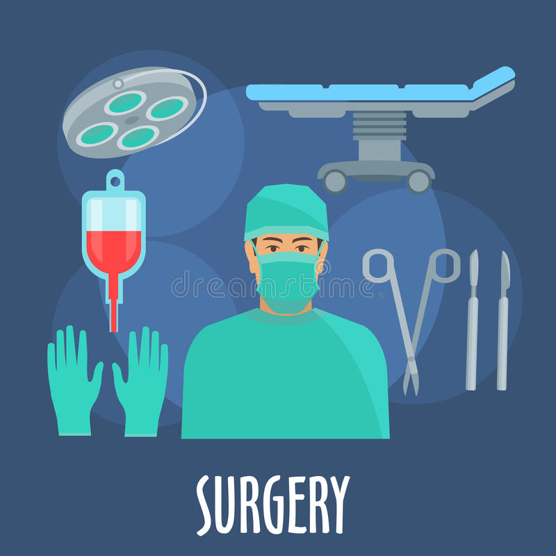 Surgeon in operating room with instruments icon. Surgeon in scrub, cap and mask in operating room symbol with flat icons of operating table and lamp, blood bag stock illustration