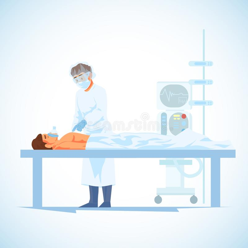 Surgeon Perform Operation on Heart Cartoon Vector. Surgeon with Scalpel, Cutting Patients Chest During Cardiology or Heart Transplantation Surgical Operation stock illustration