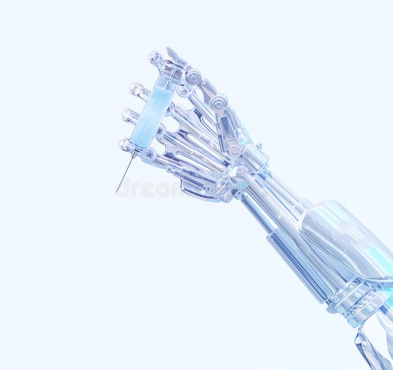 Surgeon robot hand holding medical syringe with vaccine. Future robotic surgery concept. Health robotic technology 3D illustration royalty free illustration