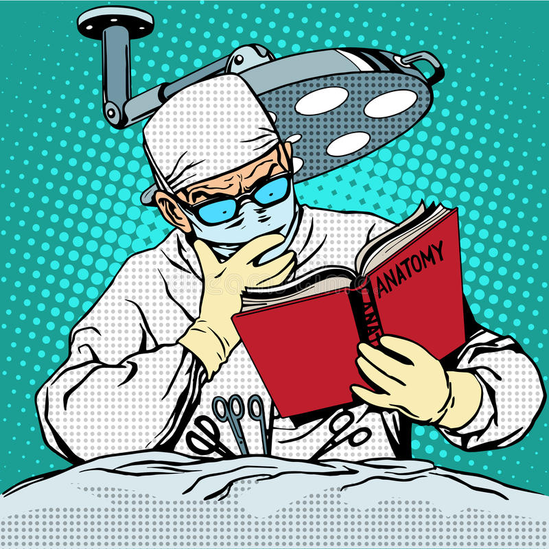 The surgeon before surgery is reading anatomy vector illustration