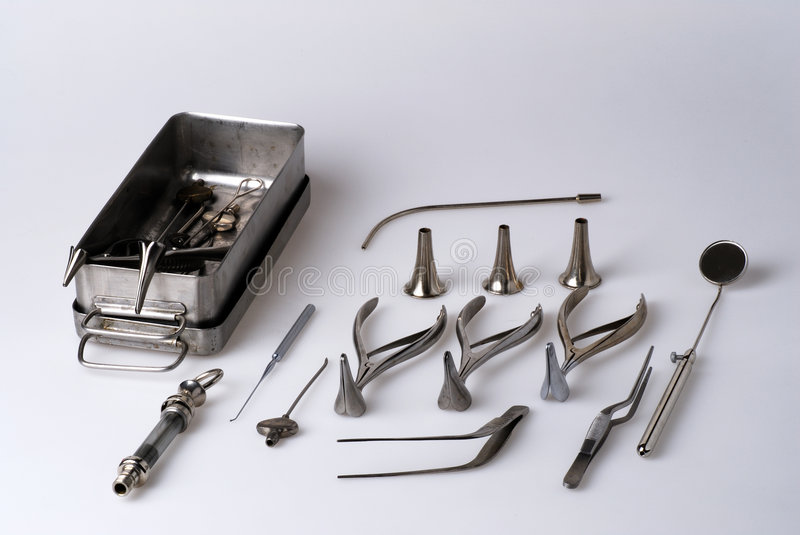 Surgeon tools. Set of surgeon tools for ear, nose and throat stock image