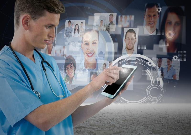 Surgeon using digital tablet with digitally generated networking icons. Close-up of surgeon using digital tablet with digitally generated networking icons stock images