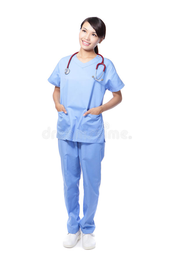 Surgeon woman doctor look copy space royalty free stock images