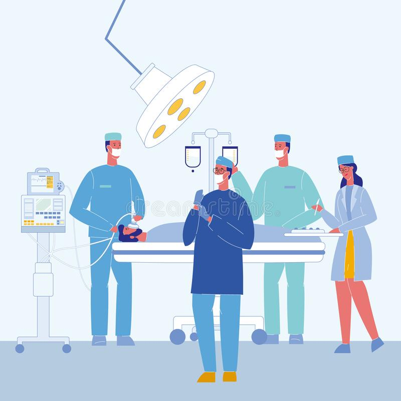 Surgeons in Operating Room Vector Illustration. Unconscious Patient on Bed. Surgical Lamp. Doctors Characters. Anesthesiologist with Mask. Intravenous Drip in vector illustration