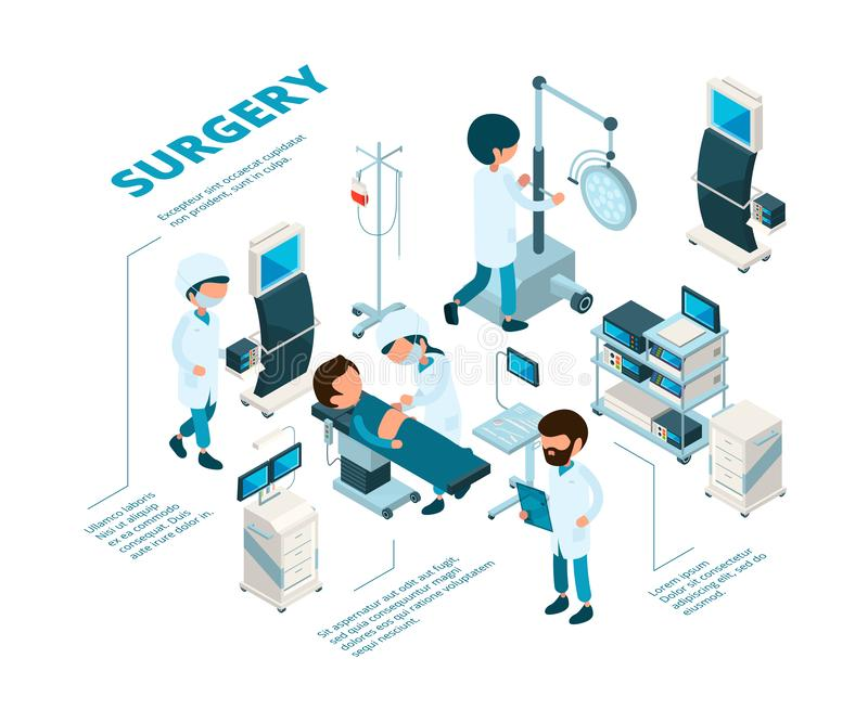 Surgeries isometric. Medical staff surgeons work emergency therapy procedures healthcare room doctors making operation stock illustration