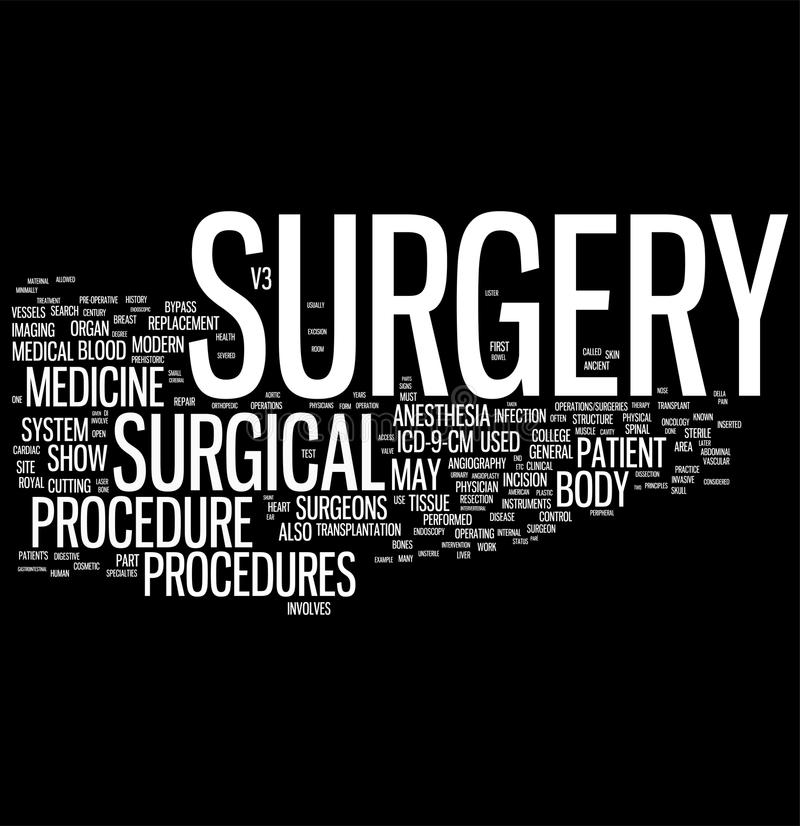 Surgery. Word cloud on black background vector illustration