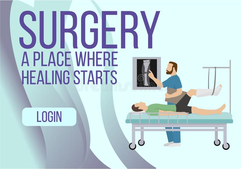 Surgery banner. Place where healing starts vector illustration. Fracture of the leg, sprain or tearing of the leg. Ligaments. Rehabilitation after trauma stock illustration