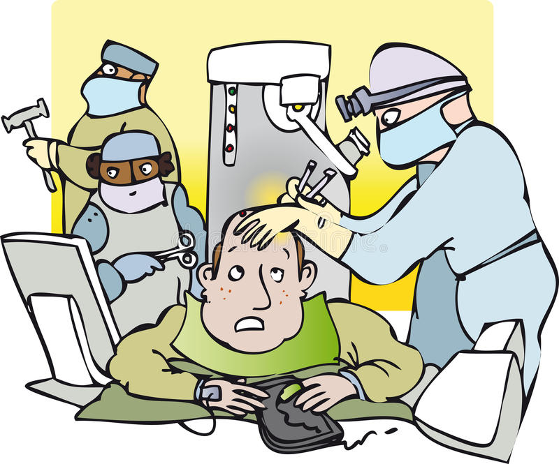 Surgery. Concerned man having brain surgery vector illustration