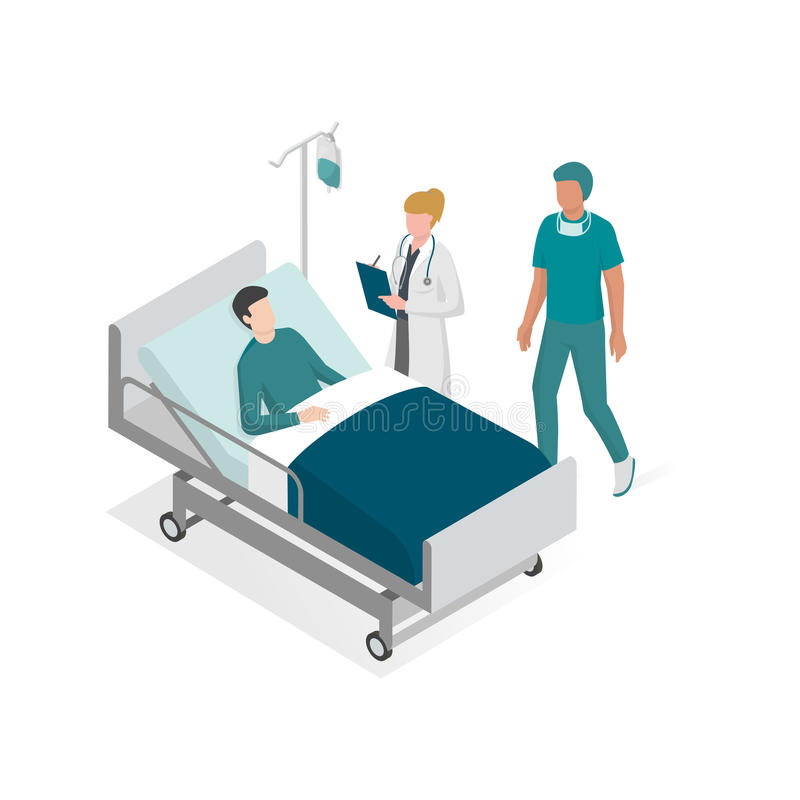 Surgery and hospitalization. Doctor and surgeon taking care of the patient on the bed at the hospital royalty free illustration