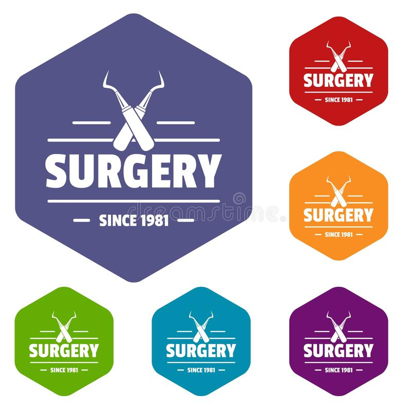 Surgery icons vector hexahedron. Surgery icons vector colorful hexahedron set collection isolated on white royalty free illustration