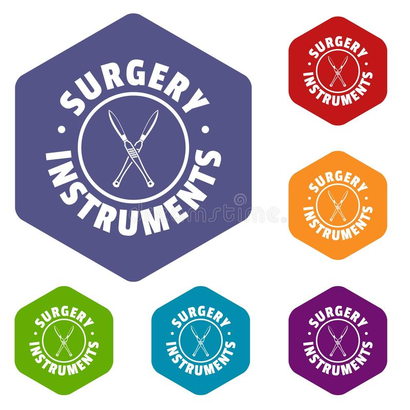 Surgery instrument icons vector hexahedron. Surgery instrument icons vector colorful hexahedron set collection isolated on white vector illustration