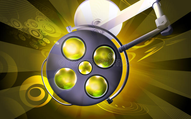 Surgery light. 3d rendering of surgery light in color background vector illustration